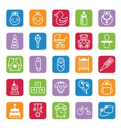 Set of flat color icons baby and accessories vector