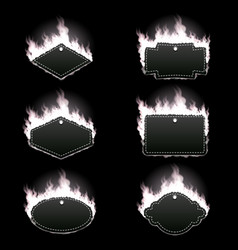 Set of six frames surrounded with white flame vector
