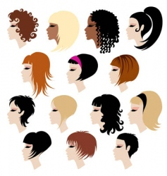 set of trendy hair styling for woman vector image