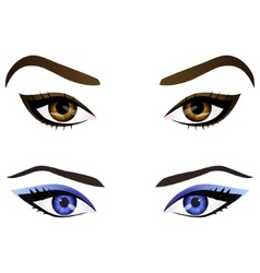 Set realistic cartoon female eyes and vector