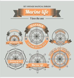 Set Vintage nautical emblem vector image