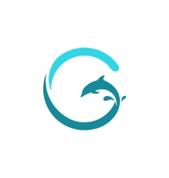 Sign the letter G dolphin vector image
