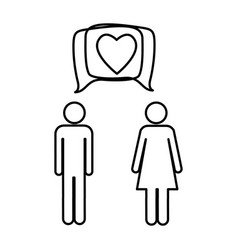silhouette pictogram male and female with square vector image