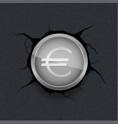 silver euro on cracked background vector image