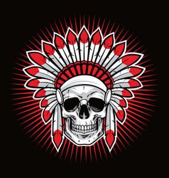 Skull indian native american warrior mascot vector