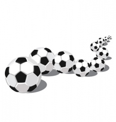 soccer balls in a row vector image