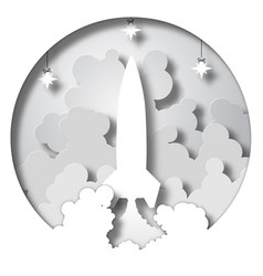 space rocket launch startup paper cut style vector image