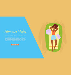 summer vibes dark skinned girl taking sun bath vector image
