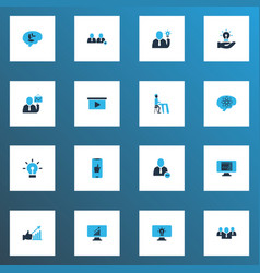 teamwork icons colored set with add team vector image