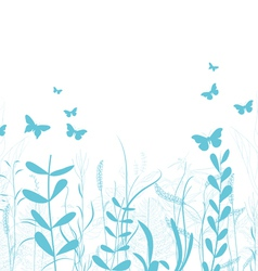 Vintage spring florals and butterfly background vector