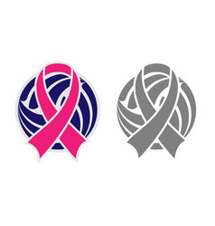 Volleyball and ribbon vector