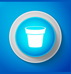 white flower pot icon isolated on blue background vector image