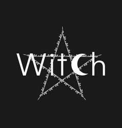 white line art witchcraft and magic print pentacle vector image
