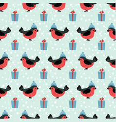 winter holidays seamless pattern with cartoon vector image