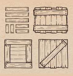 Wooden box doodles vector