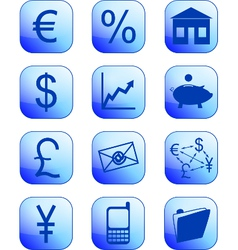 Financial icons blue vector