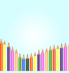 White background with colored pencils vector