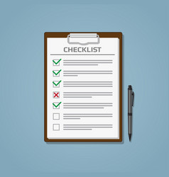 checklist in notepad vector image vector image