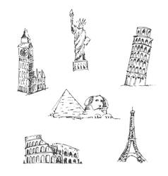 Doodle Travel set World famous landmarks vector image vector image