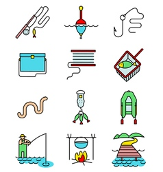 Fishing hobby line art thin and simply icons set vector image vector image