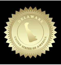 Gold star label delaware vector