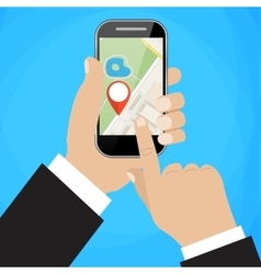 Hand holds smartphone with city map vector image vector image