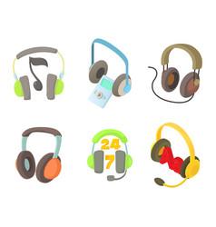 headset icon set cartoon style vector image