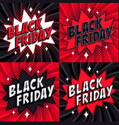 black friday sale set comic style banners 4 vector image vector image