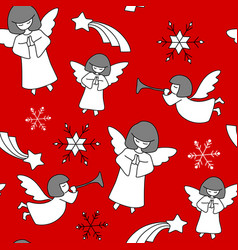 christmas pattern angels stars and snowflakes vector image vector image