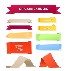 Color polygonal origami ribbons vector image vector image