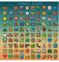 colorful travel line icons set vector image