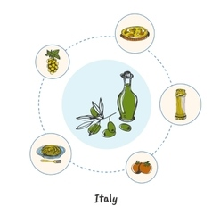Famous Italian Symbols Doodle Concept vector image vector image