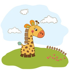 greeting card with giraffe toy vector image vector image