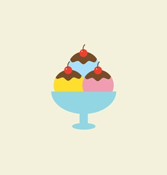 Ice Cream With Chocolate Syrup In A Bowl vector image