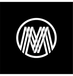 M capital letter of three white stripes enclosed vector