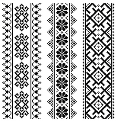 Ukrainian Belarusian black embroidery seamless pa vector image vector image
