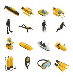 underwater equipment isometric icons set vector image vector image