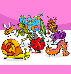 cartoon insects and bugs characters group vector image