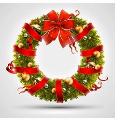 christmas wreath design vector image vector image