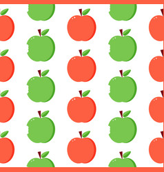 red and green apples seamless pattern background vector image