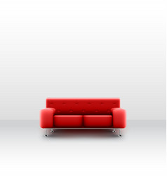 a realistic red couch in a white room vector image