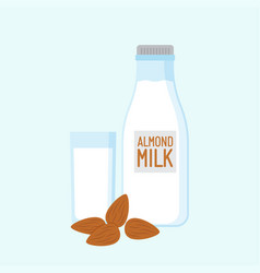 almond milk with nuts vector image