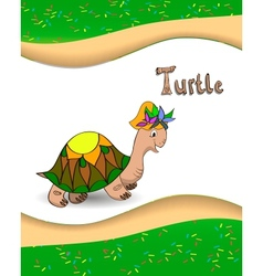 Alphabet letter T and turtle vector image