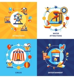 Amusement Park 4 Flat Icons Square vector image