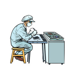 Asian worker in electronics factory vector