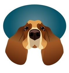Basset hound isolated on circle blue frame vector