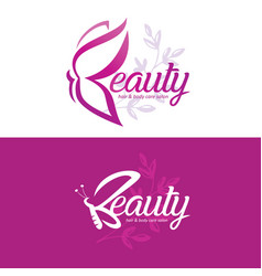 Beauty logo template with butterfly stylized vector