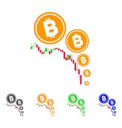 Bitcoin deflation chart icon vector