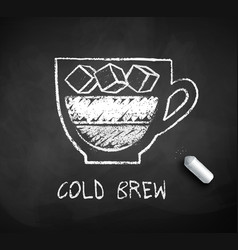 Black and white sketch of cold brew coffee vector