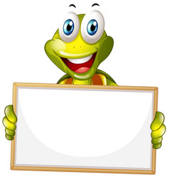 Blank sign template with happy turtle on white vector